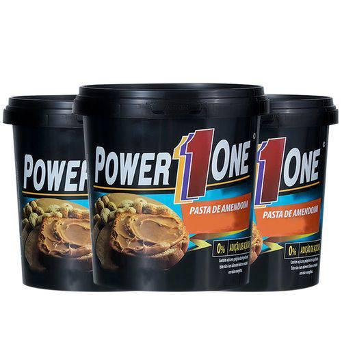 Kit 3 Un Pasta de Amendoim 500g Açúcar de Coco Power One