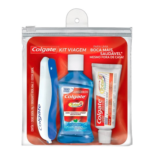 Kit Viagem Colgate 1 Escova Dental + 1 Creme Dental + 1 Enxaguante Bucal
