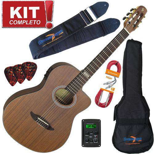 Kit Violão Elétrico Flat Gnf-3 Ceq Ws Walnut Satin Giannini Completo