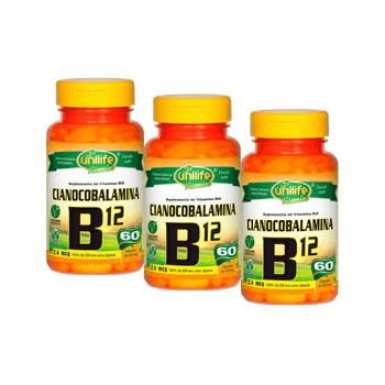 Kit 3 Vitamina B12 Cobalamina Unilife 60 Cápsulas