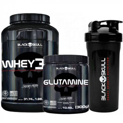 Kit Whey 3hd (900g) + Glutamina (300g) + Coqueteleria Black Skull