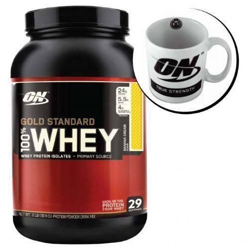 Kit Whey Protein 100% Gold Standard 909g Banana Cream + Caneca - Optimum Nutrition