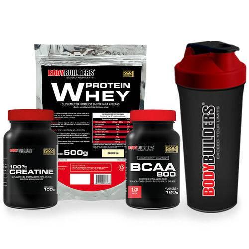 Kit Whey Protein 500g + Bcaa 120 Tabs + Creatine 100g + Coqueteleira – Bodybuilders