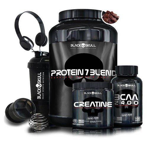Kit Whey Protein 7 + BCAA 2400 + Creatina Caveira Preta + Coqueteleira + Fone - Black Skull
