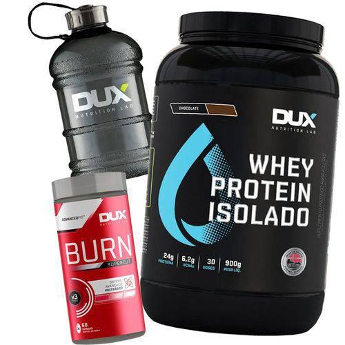 Kit Whey Protein Isolado 900g + Burn Supercut + Galão - Dux