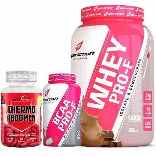 Kit Whey Protein PRO-F 900g + BCAA 90 Capsulas + Thermo Abdomen - 120 Tabletes Body Action