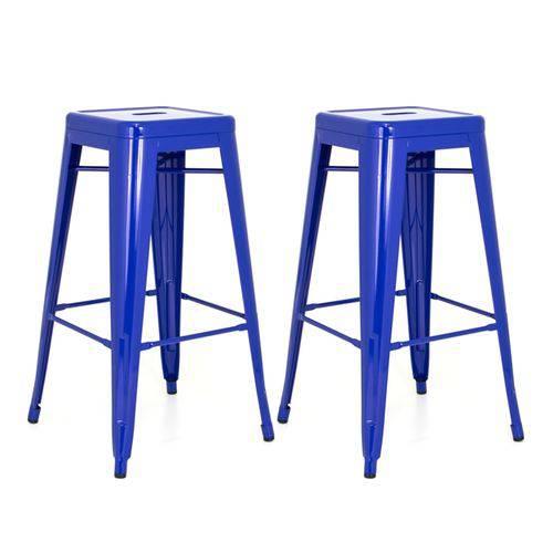 KIT - 2 X Banquetas Altas Iron Tolix - Industrial - Aço - Vintage - Azul Escuro