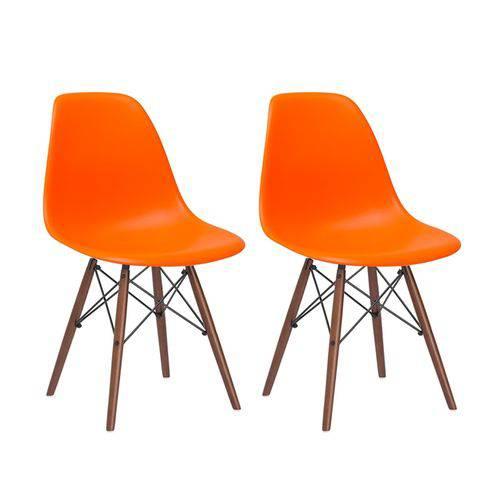 Kit - 2 X Cadeiras Charles Eames Eiffel DSW - Laranja - Madeira Escura