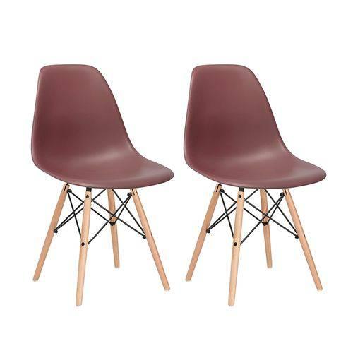 Kit - 2 X Cadeiras Charles Eames Eiffel DSW - Marrom - Madeira Clara