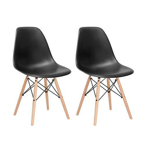 Kit - 2 X Cadeiras Charles Eames Eiffel DSW - Preto - Madeira Clara