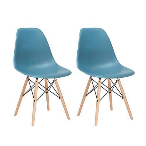Kit - 2 X Cadeiras Charles Eames Eiffel DSW - Turquesa - Madeira Clara
