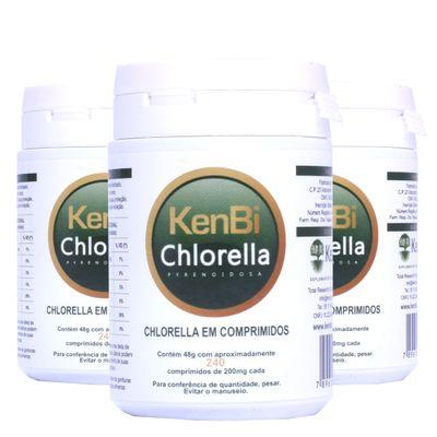 Kit 3x Chlorella Kenbi 100% Pura 240 Comprimidos