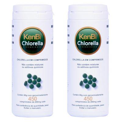 Kit 2x Chlorella Kenbi 100% Pura 450 Comprimidos