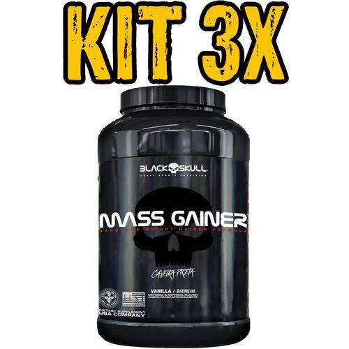 Kit 3x Mass Gainer Morango 3kg - Black Skull