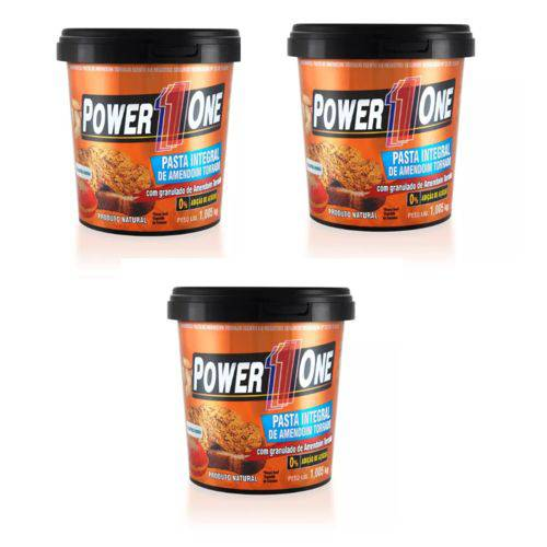 Kit 3x Pasta de Amendoim Integral Crocante Power One