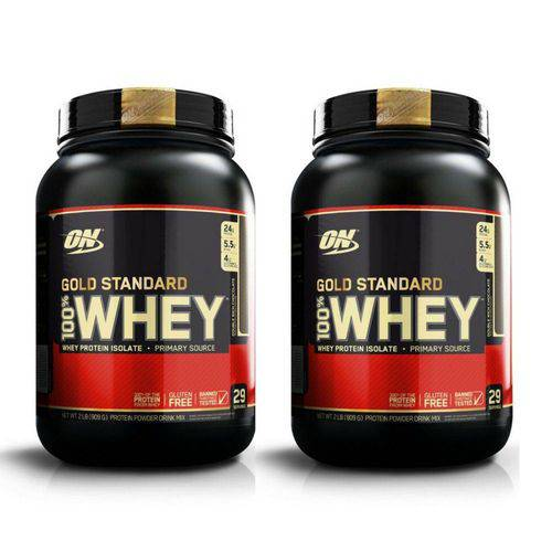 Kit 2x Whey Gold Standard 907gr (1.8kg) - Morango- Optimum Nutrition