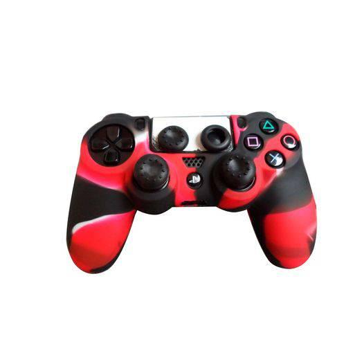 2 Kits Capa e Grips Pra Controle Ps4 Preto com Vermelho