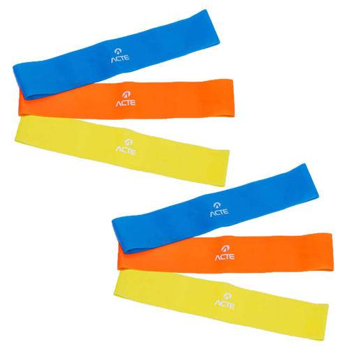 2 Kits Elásticos Mini Bands com 3 Intensidades - Acte Sports T71