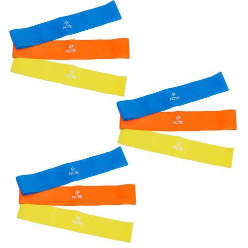3 Kits Elásticos Mini Bands com 3 Intensidades - Acte Sports T71