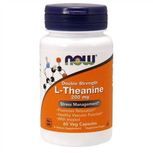 L-Teanina 200mg Dupla Força Now Foods 60 Cápsulas Veg