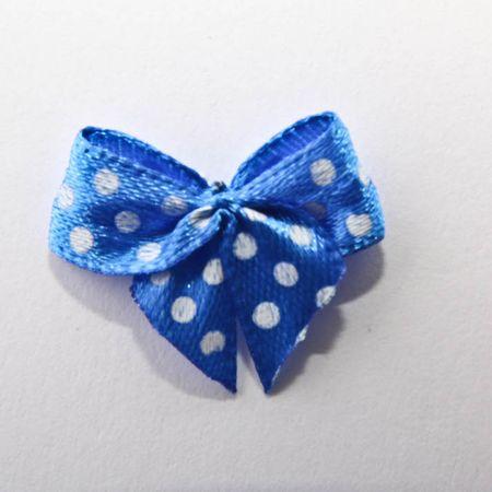 Laço de Cetim N.2 Azul Poá Branco