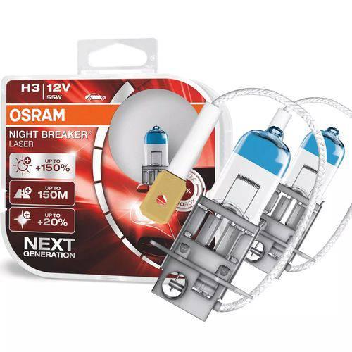 Lampada Farol Osram Night Breaker Laser H3 12V 150% + Luz Par