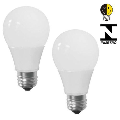 Lâmpada Led Bulbo E27 7w Branco Quente Certificada Kit 2