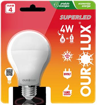 Lâmpada LED Certificada Ourolux Bulbo 4W Branco Bivolt