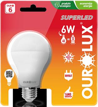 Lâmpada LED Certificada Ourolux Bulbo 6W Branco Bivolt