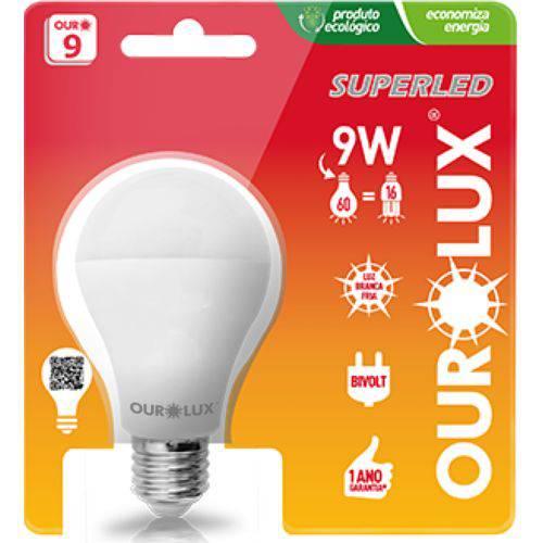 Lampada Ourolux Led 9w E27 Luz Branca Fria 6500k