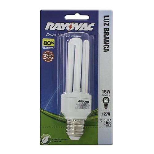 Lâmpada Rayovac Fluorescente Compacta CFL Luz Branca 15W 127V ou 220V com 1 Unidade