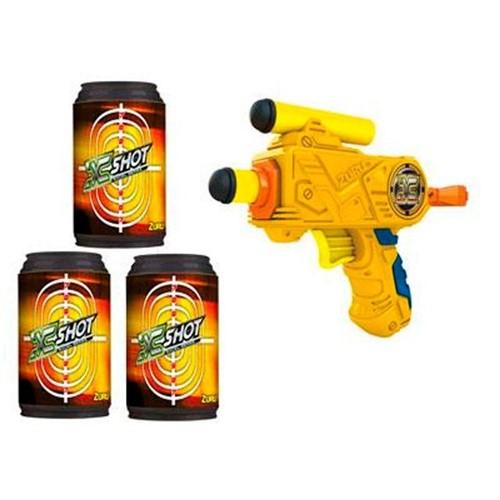 Lança Dardos X-Shot Excell 3 Latas Alvo Candide Amarelo