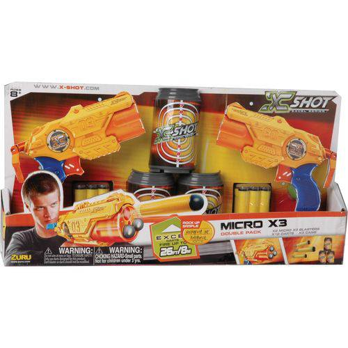 Lançador X-Shot Micro X3 Double com Latas Candide