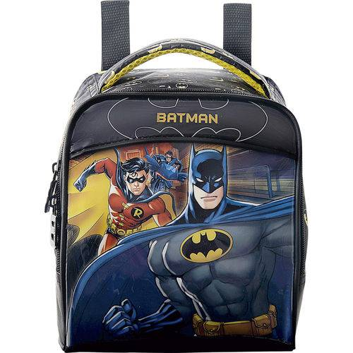 Lancheira Batman Bat Squad 7234, em PVC com Puxadores Personalizados, Preto C/ Amarelo -Xeryus