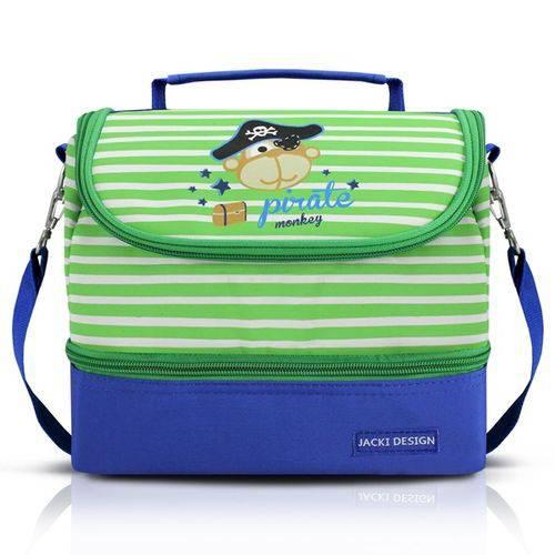Lancheira Térmica Bolsa Escolar Menino Alça Ajustável 2 Compartimentos Pirata Jacki Design Azul