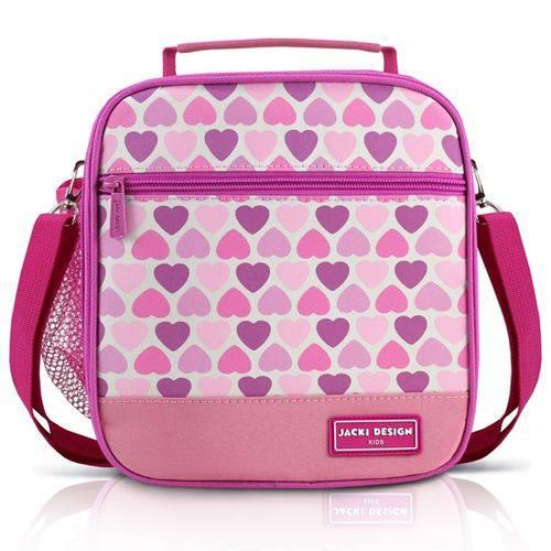 Lancheira Térmica Escolar Infantil Alça Ajustável 2 Compartimentos Menina Jacki Design Coração Rosa