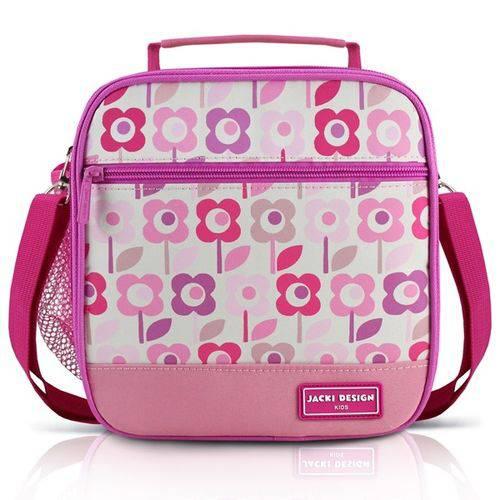 Lancheira Térmica Escolar Infantil Alça Ajustável 2 Compartimentos Menina Jacki Design Flor Rosa