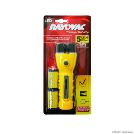Lanterna 5 LEDs Total com 2 Pilhas Amarela Rayovac