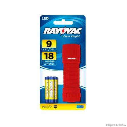 Lanterna 9 LEDs Pequena com 3 Pilhas Vermelha Rayovac