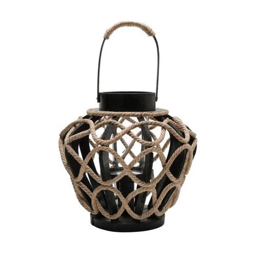 Lanterna de Madeira e Corda Lampion 27X27X41cm
