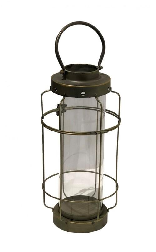 Lanterna Metal Dourada 20x54cm - Occa Moderna