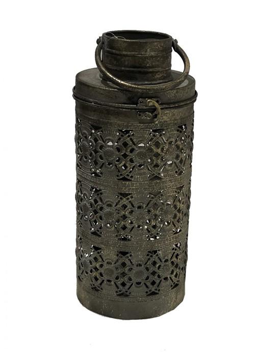 Lanterna Metal Vazada Cinza 39cm - Occa Moderna