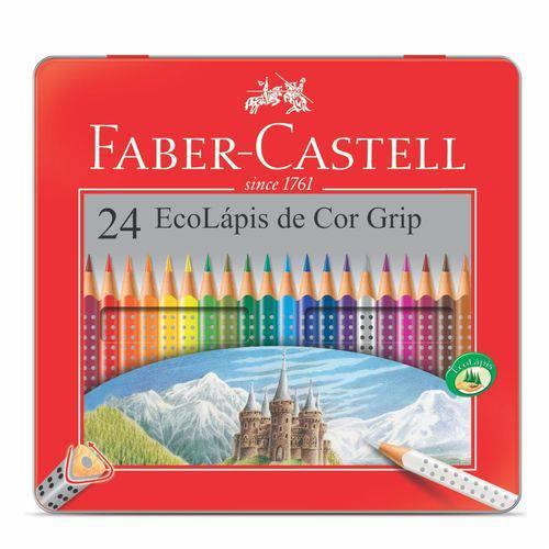 Lápis 24 Cores Faber Grip Lata
