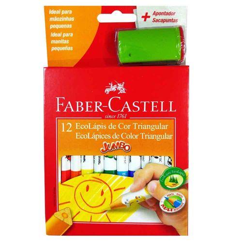 Lápis de Cor 12 Cores Triangular Jumbo Faber Castell 130870