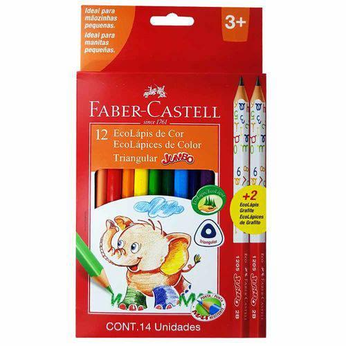 Lápis de Cor 12 Cores Triangular Jumbo Faber Castell
