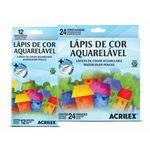 Lapis de Cor 24 Cores Aquarelável Sextavado Acrilex