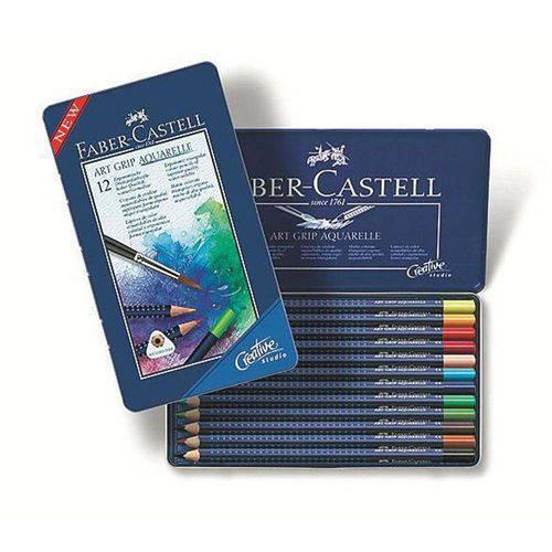 Lápis de Cor Aquarelável 12 Cores Art Grip Estojo Metálico Faber-Castell