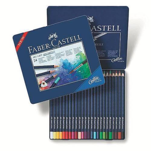 Lápis de Cor Aquarelável 24 Cores Art Grip Estojo Metálico Faber-Castell