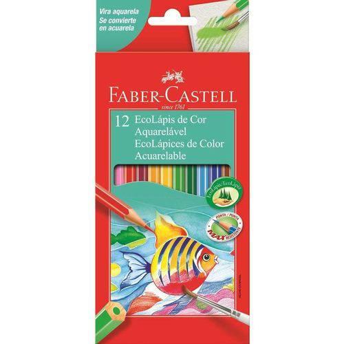 Lápis de Cor Aquarelável Ecolápis 12 Cores Faber Castell