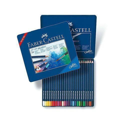 Lápis de Cor Aquarelavél Faber Castell Art Grip Creative Studio 24 Cores 114224